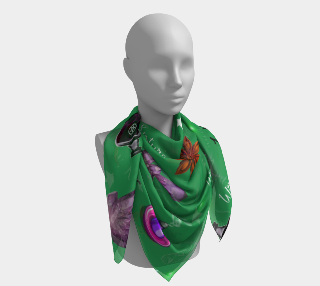 WK #ModernWitchLife Green Print Big Square Silk Scarf preview #4