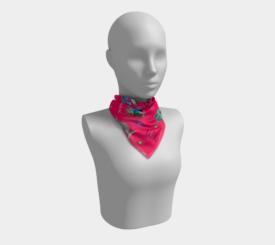 WK #ModernWitchLife Pink Print Big Square Silk Scarf preview #1