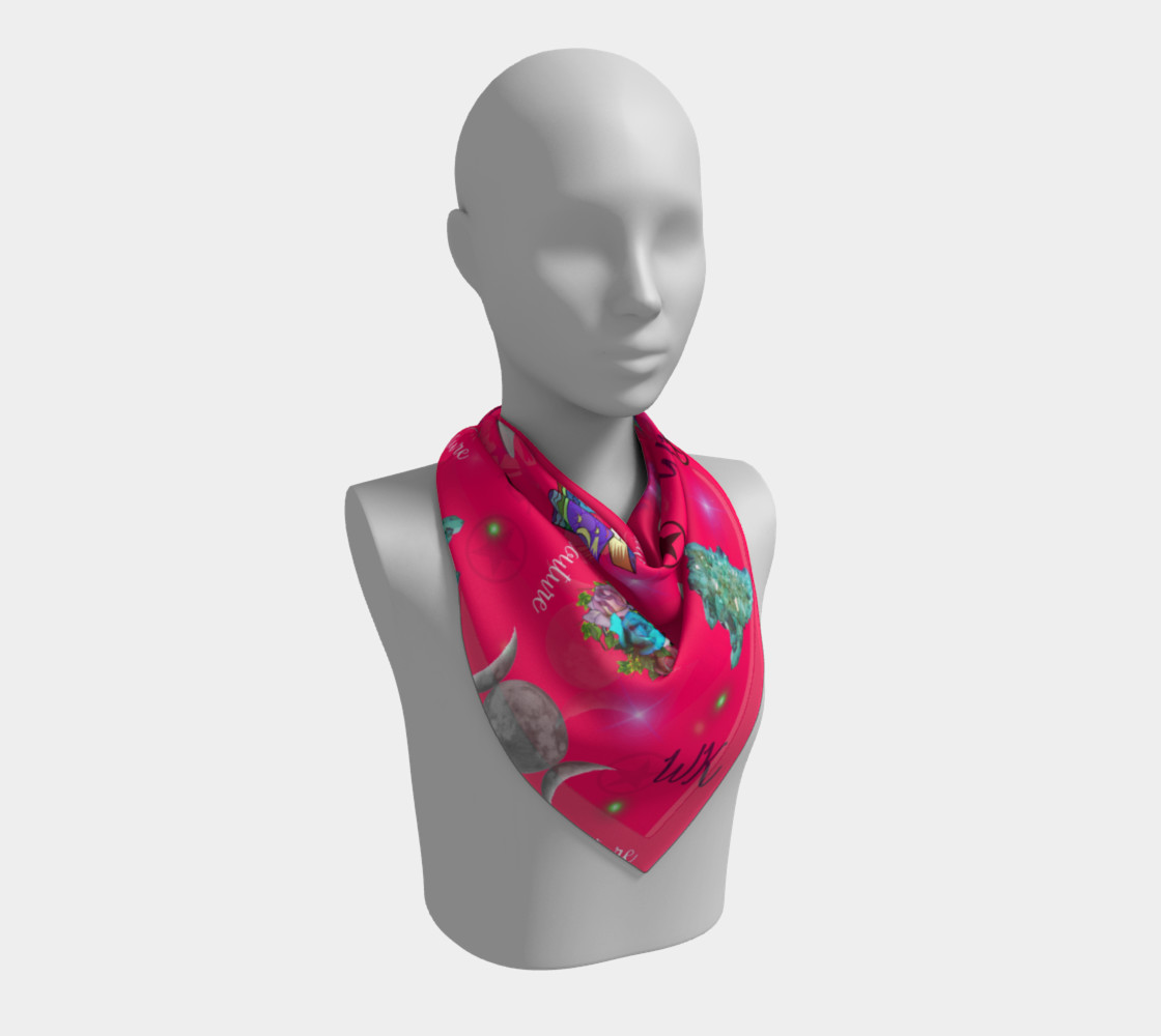 WK #ModernWitchLife Pink Print Big Square Silk Scarf preview #2
