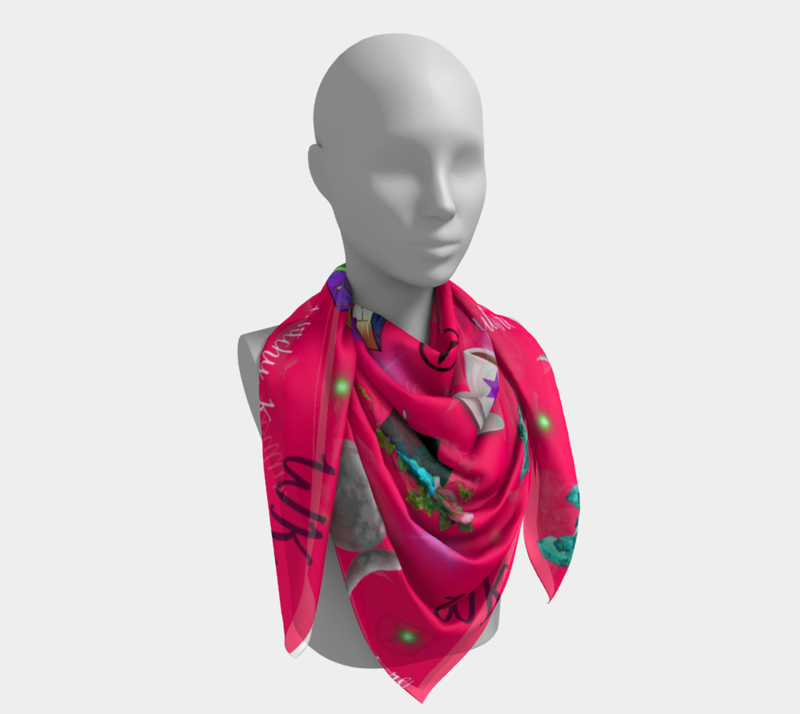 WK #ModernWitchLife Pink Print Big Square Silk Scarf preview #4