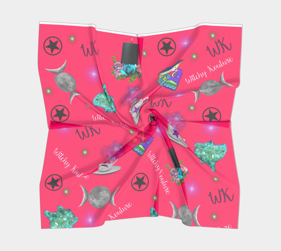 WK #ModernWitchLife Pink Print Big Square Silk Scarf preview #5