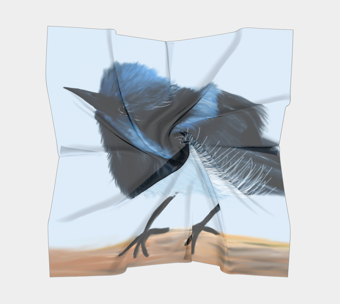 Blue Wren Big Square Silk Scarf preview #5