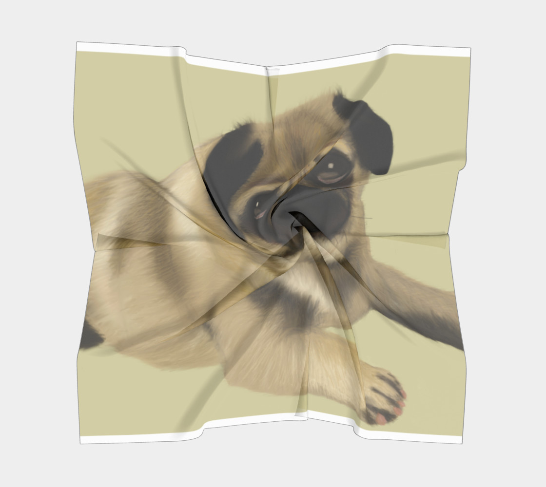 "Pug Love Square Scarf 26"" x 26"" preview #5"