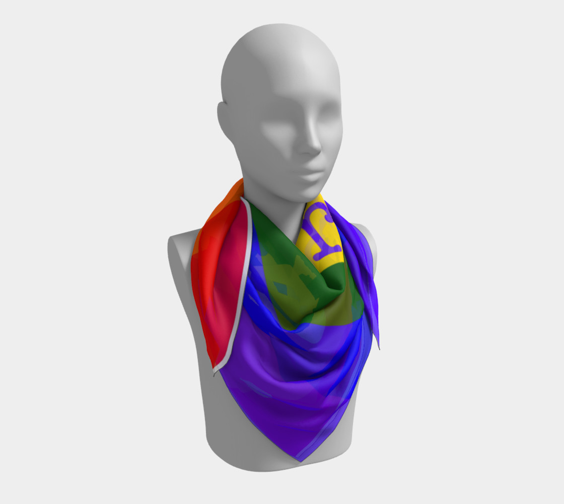 Gay Pride Love Silk Square Scarf  preview #3