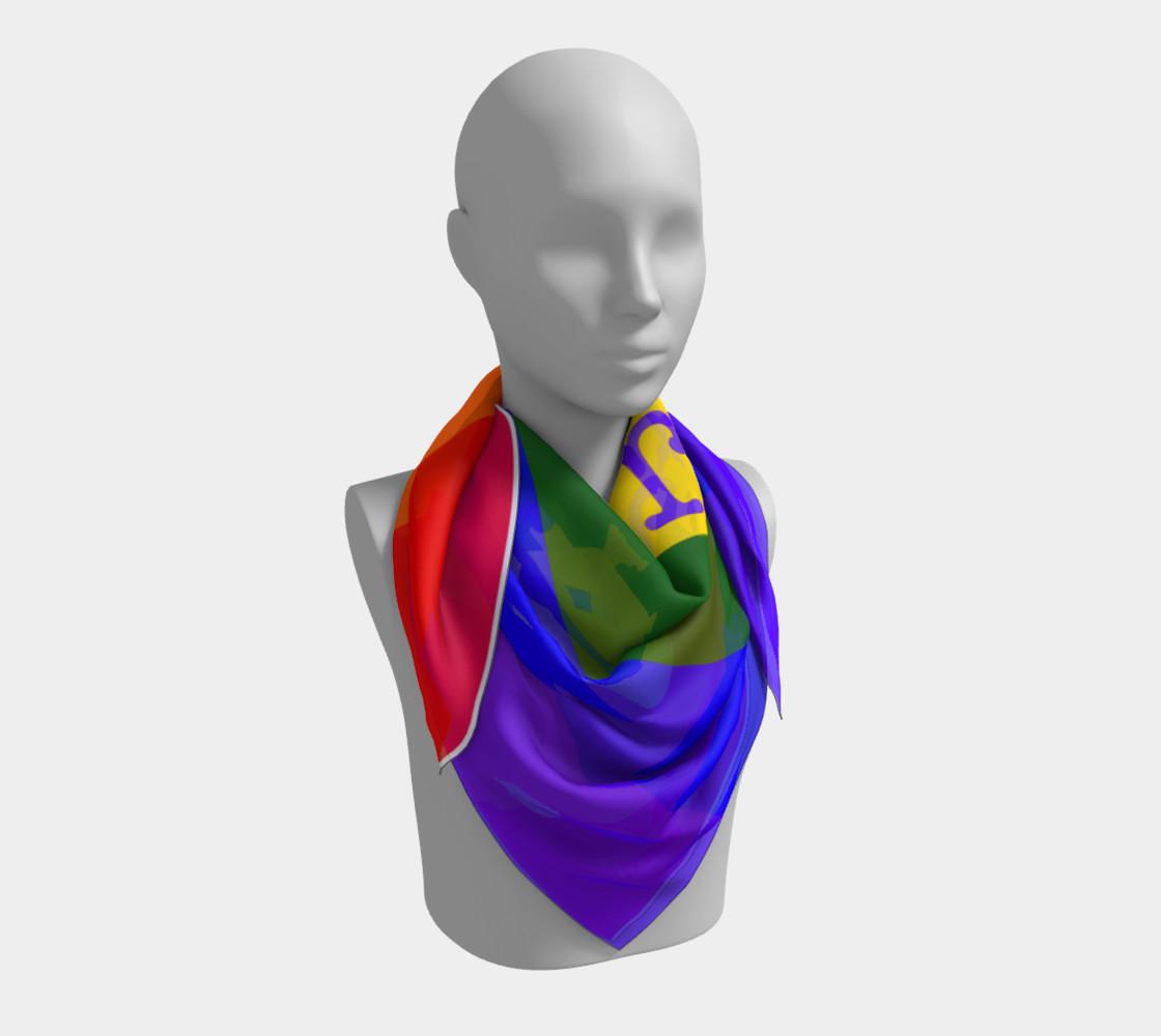 Gay Pride Love Big Square Silk Scarf preview #3
