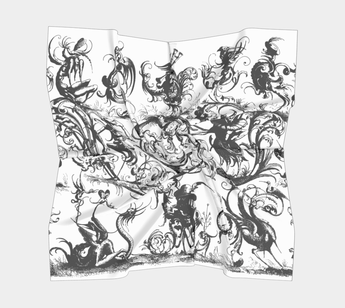 Grotesques W&B - Big Square Scarf Miniature #6