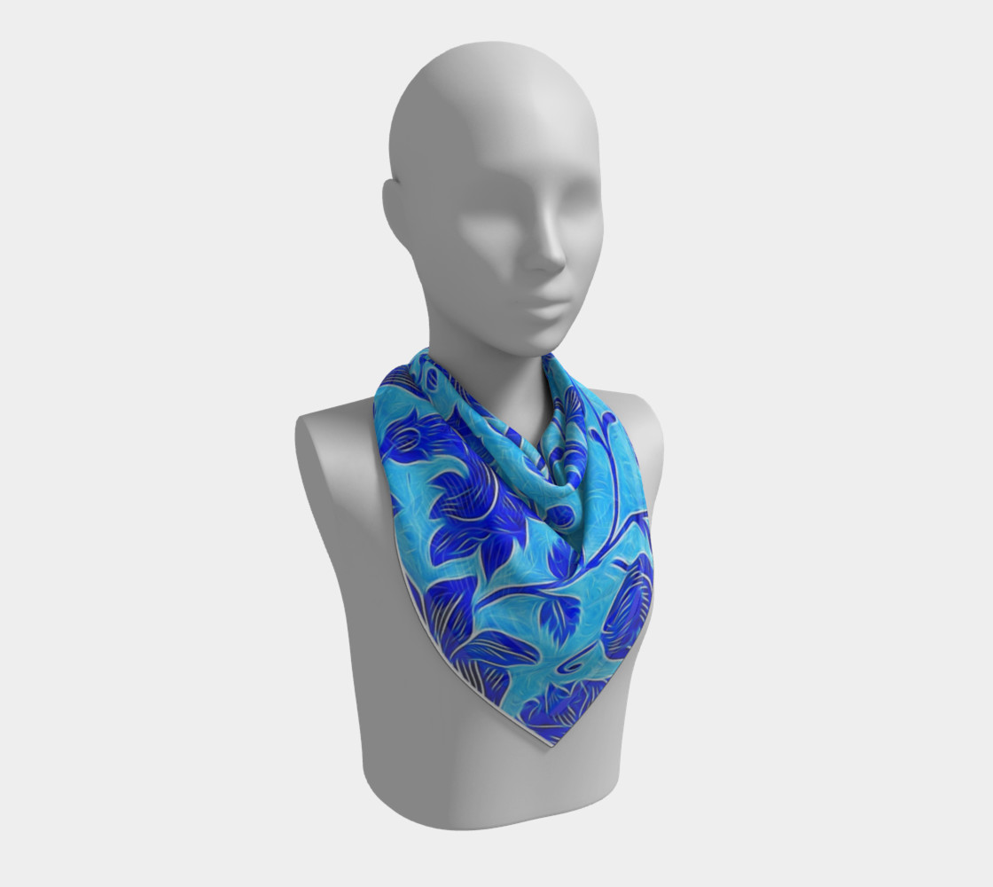 Blue Floral Scarf  preview #2