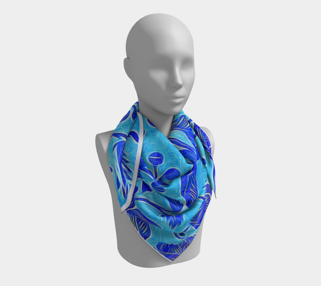 Blue Floral Scarf  preview #3