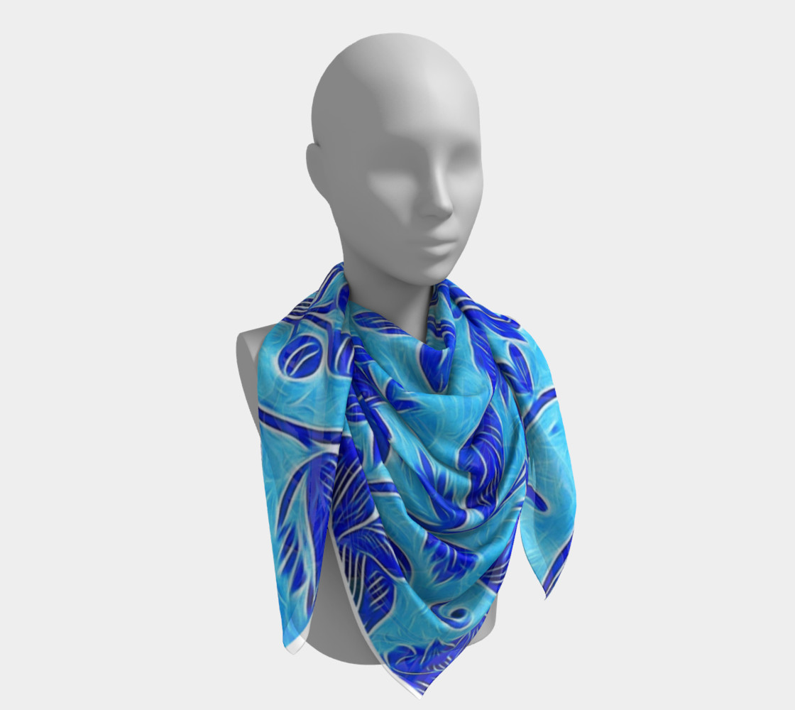 Blue Floral Scarf  preview #4