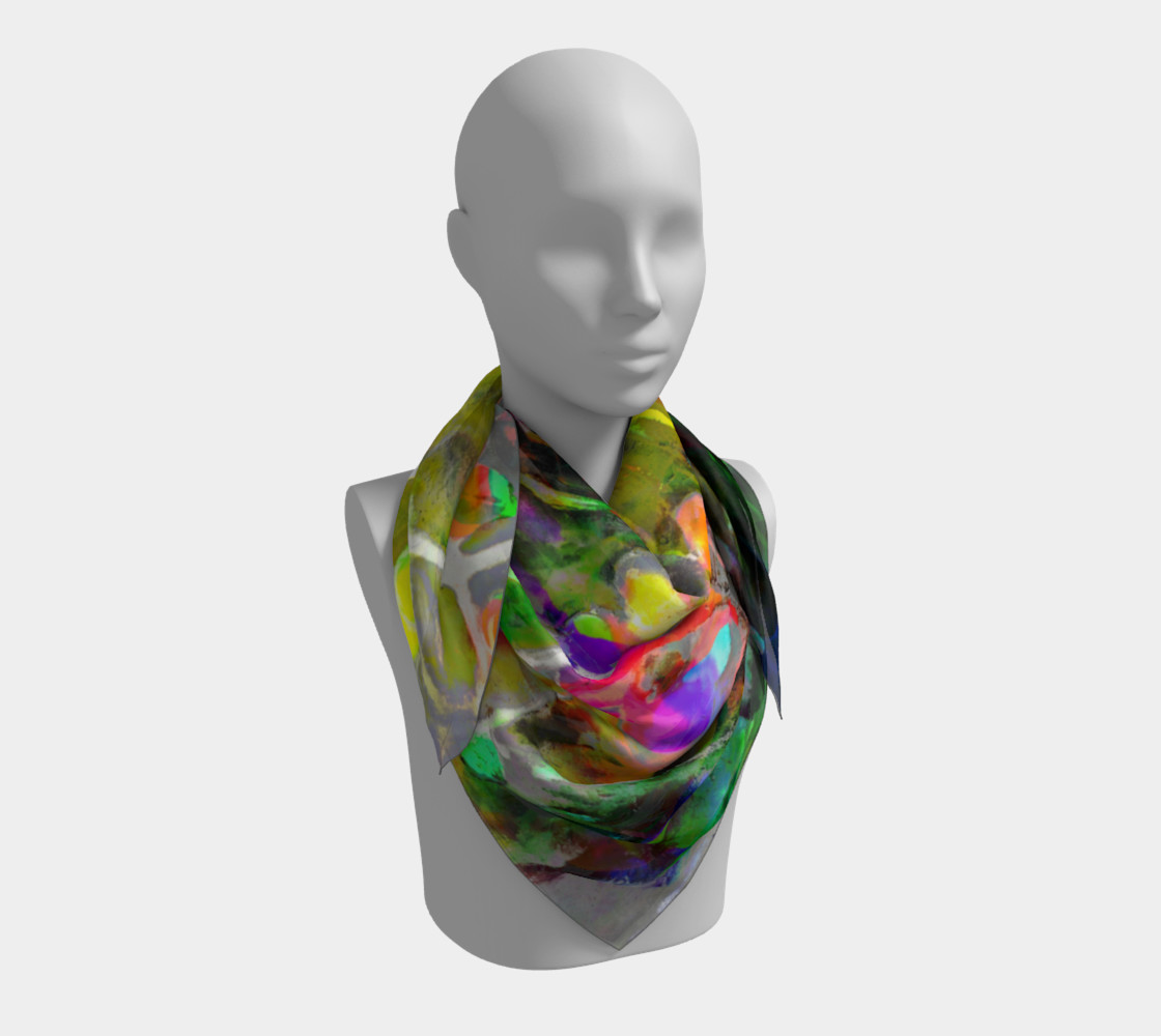"Floral Branch Multi 36"" x 36"" Scarf 3D preview"