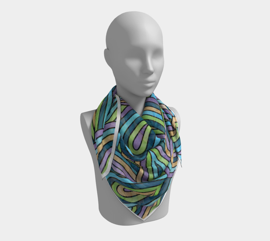 Abstract Swirls Pattern Square Scarf preview #3