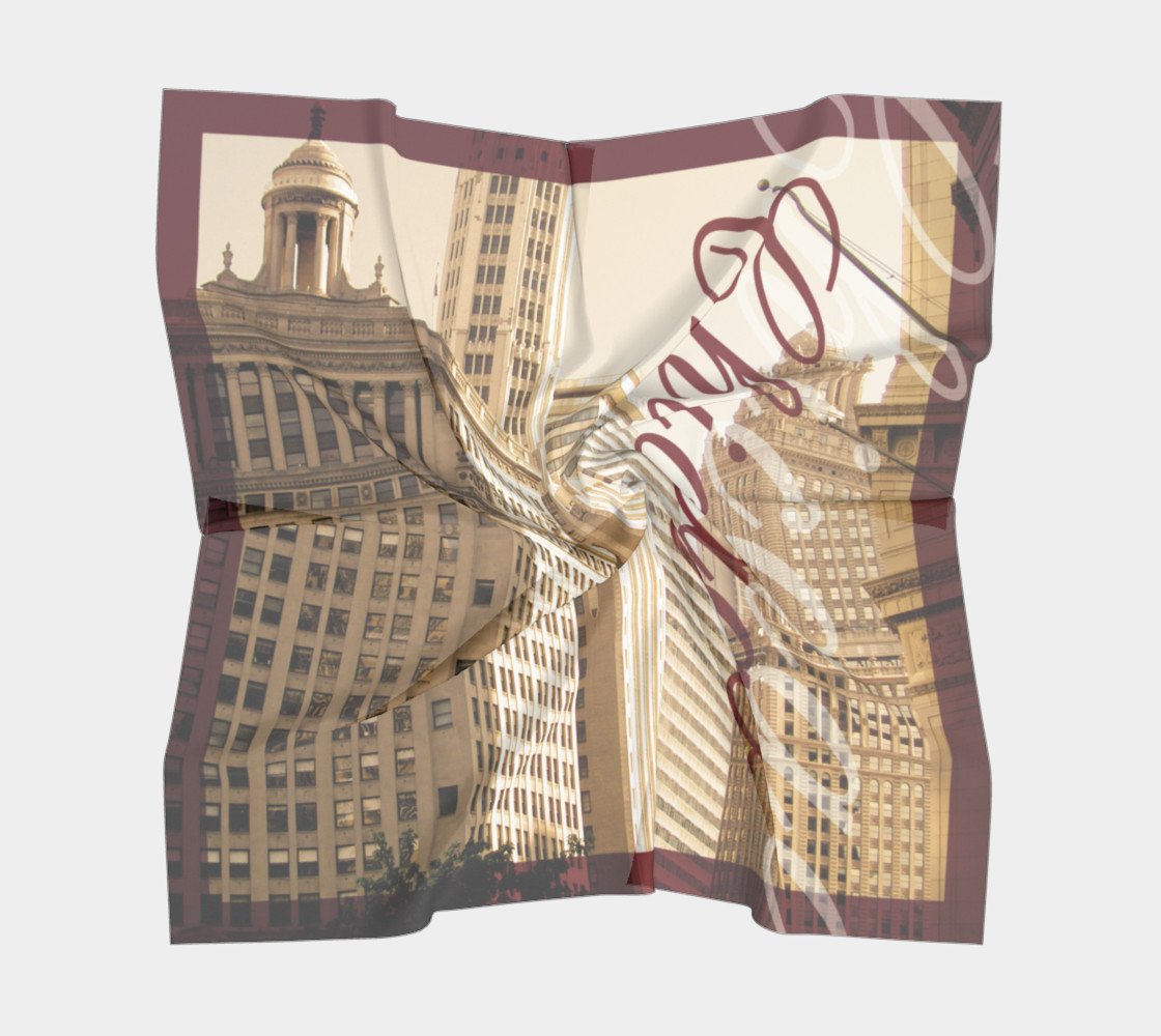 Chicago Cityscape Silk Scarf Miniature #6