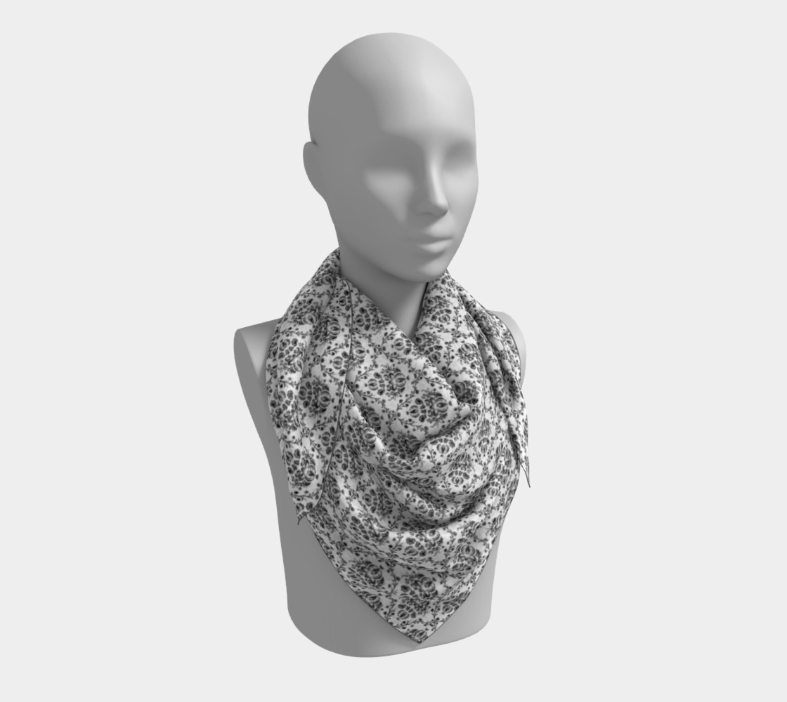Black and White Damask Silk Scarf preview #3