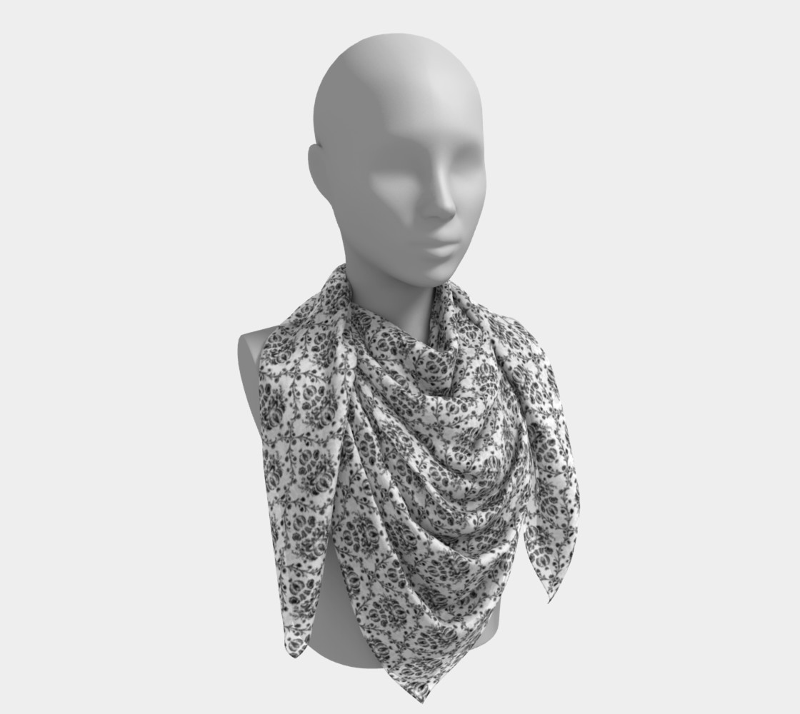 Black and White Damask Silk Scarf preview #4