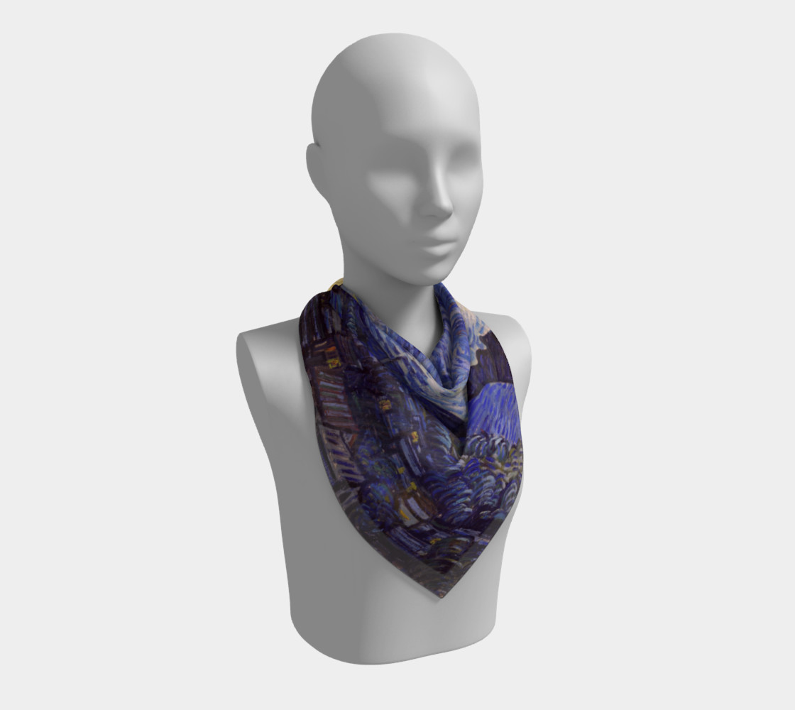 Vincent Van Gogh Starry Night Square Scarf preview #2