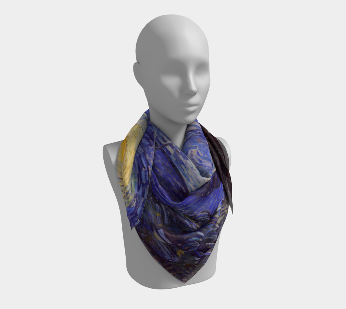 Vincent Van Gogh Starry Night Square Scarf preview #3