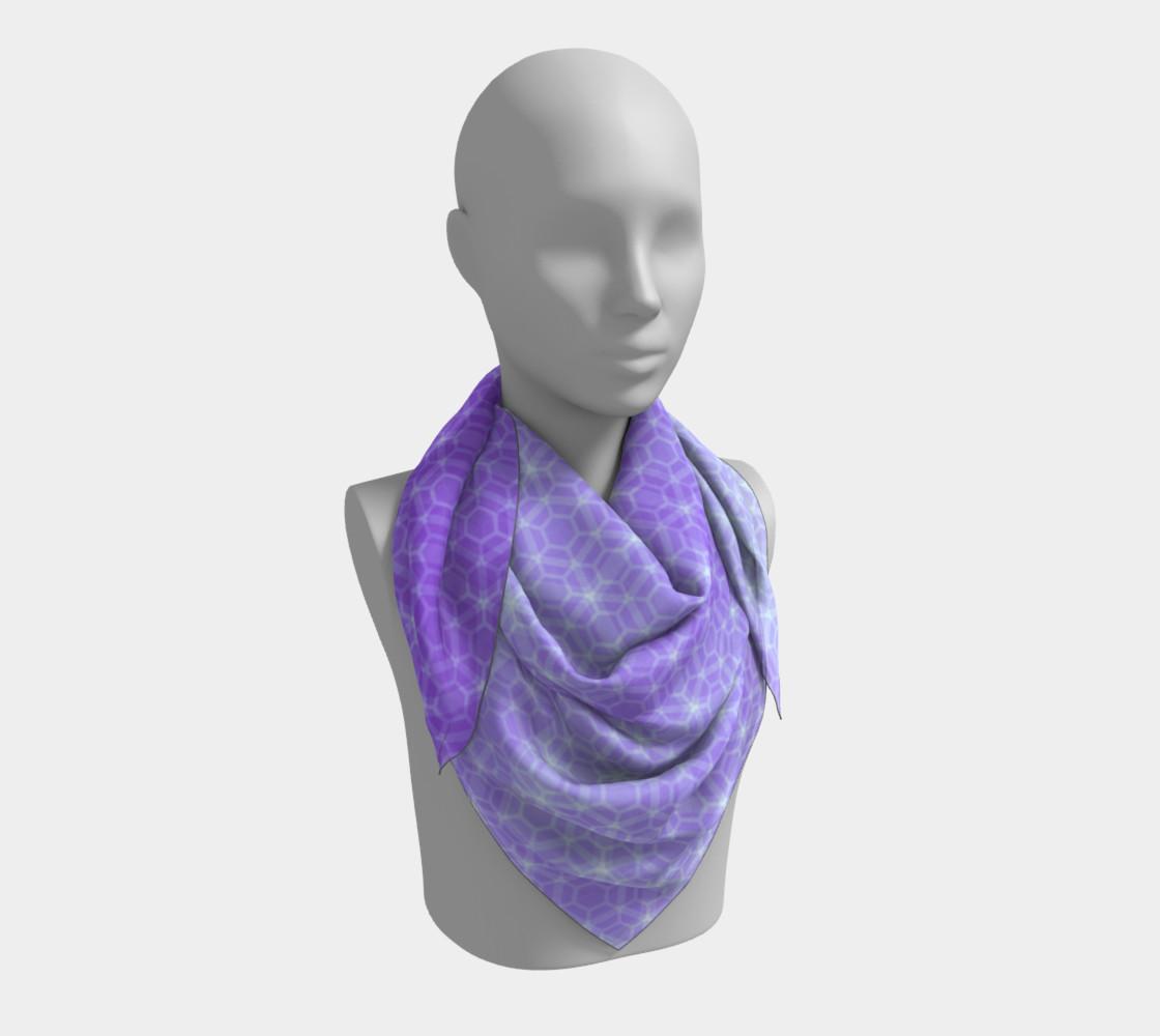 Aperçu de Lavender and Purple Ombre Hexagon Pattern Silk Scarf #3