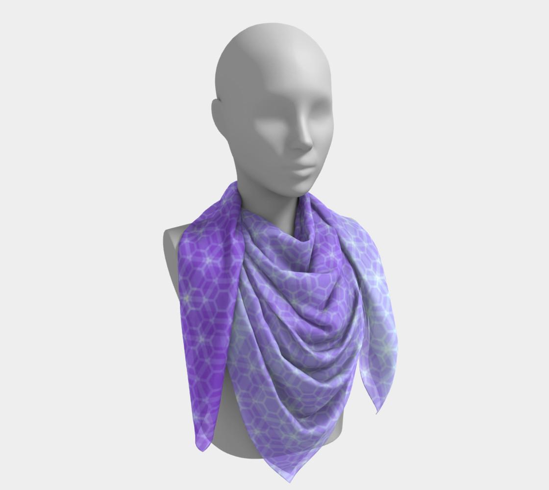 Aperçu de Lavender and Purple Ombre Hexagon Pattern Silk Scarf #4