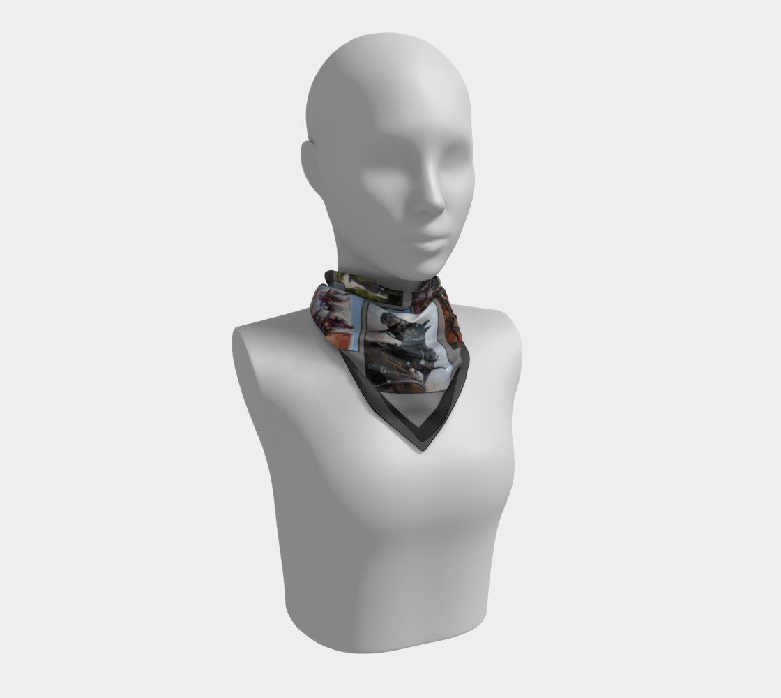 36 Horse Scarf Grey with Black Border preview #1
