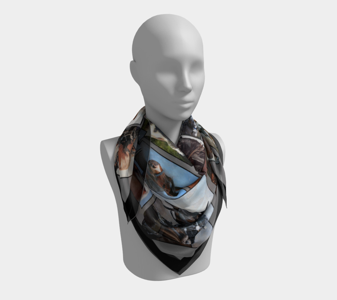36 Horse Scarf Grey with Black Border preview #3