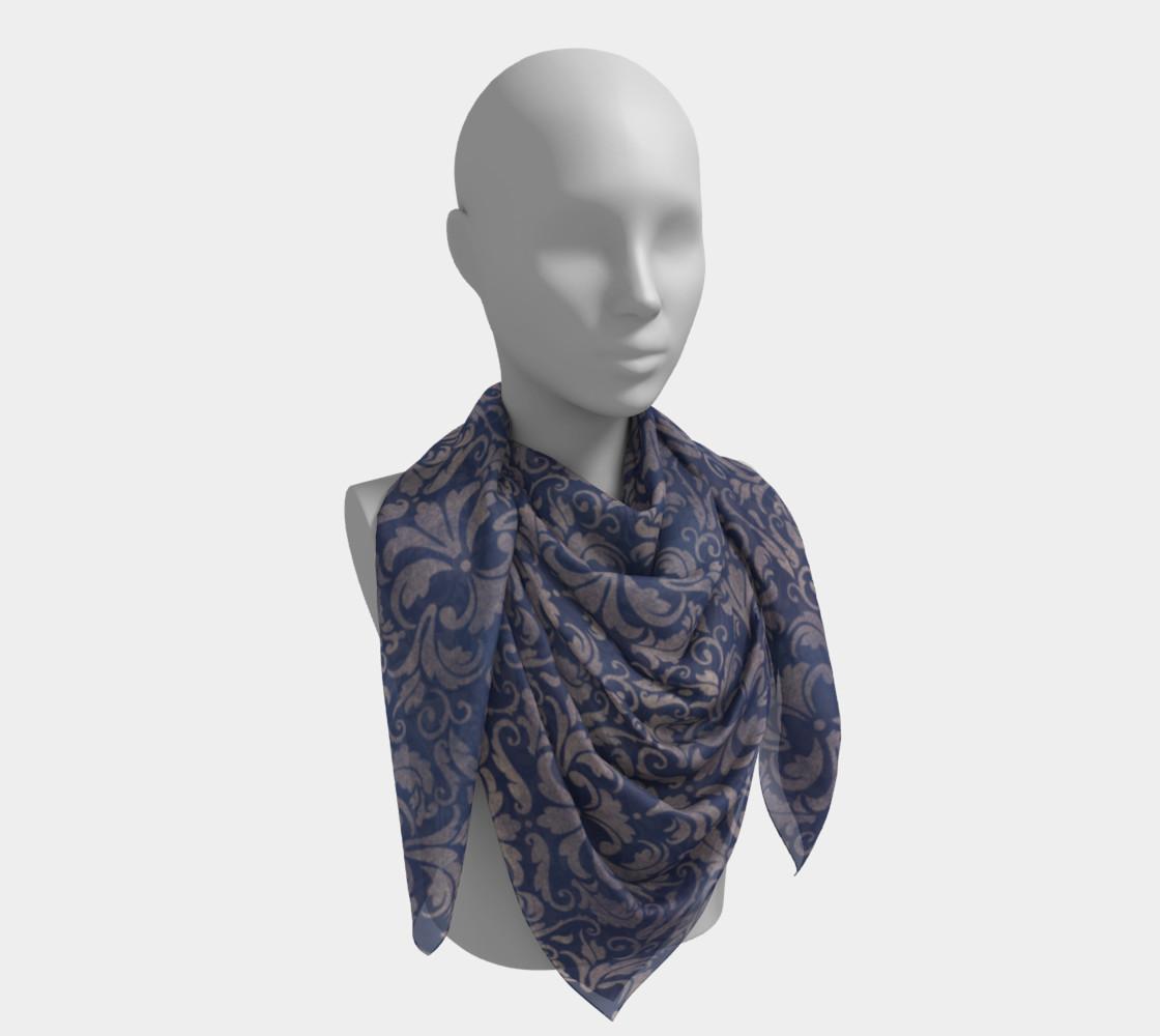Aperçu de Royal Blue Brocade Scarf #4