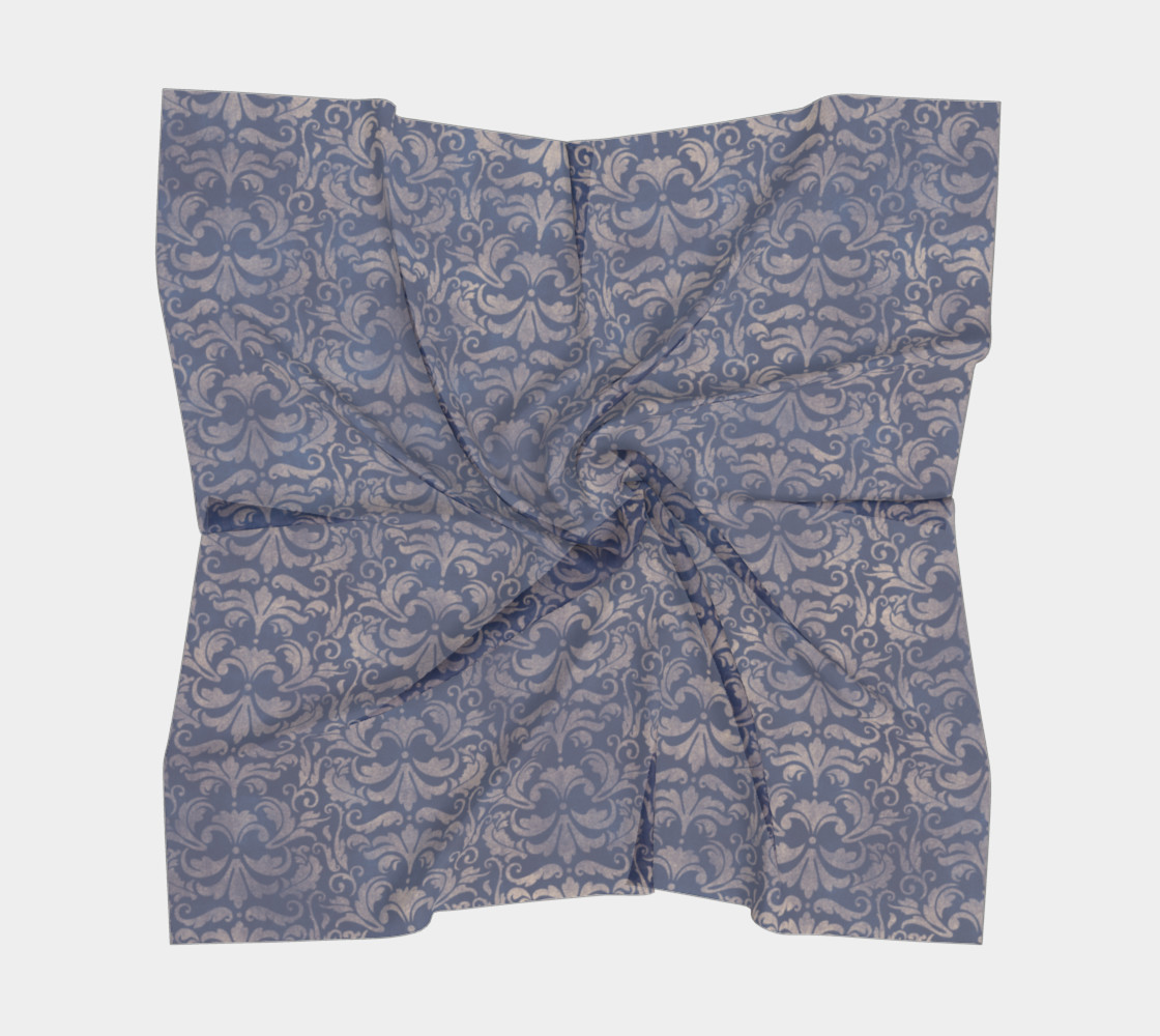 Aperçu de Royal Blue Brocade Scarf #5