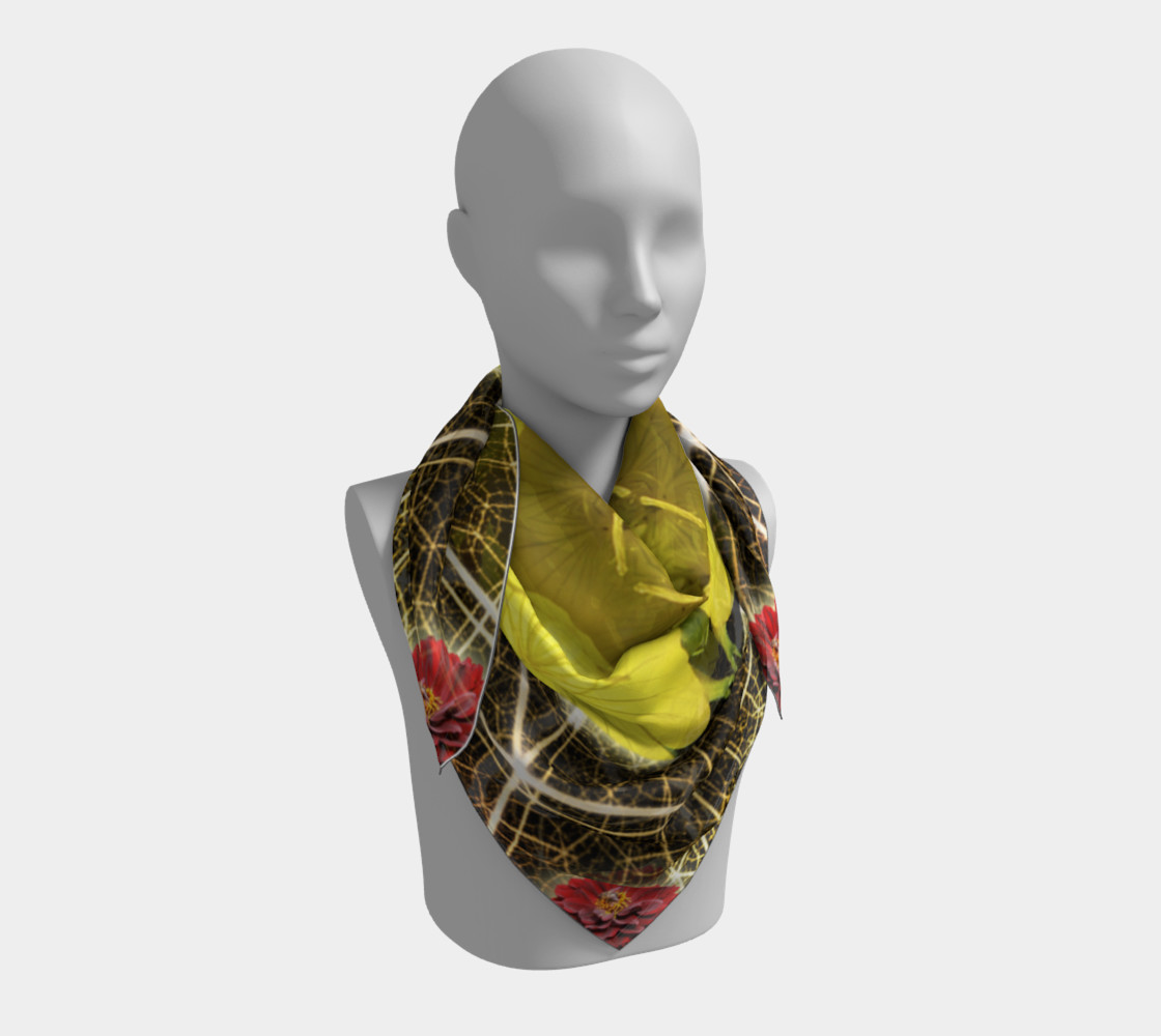 Aperçu de Queen Bee Mandala Large Silk Scarf #3