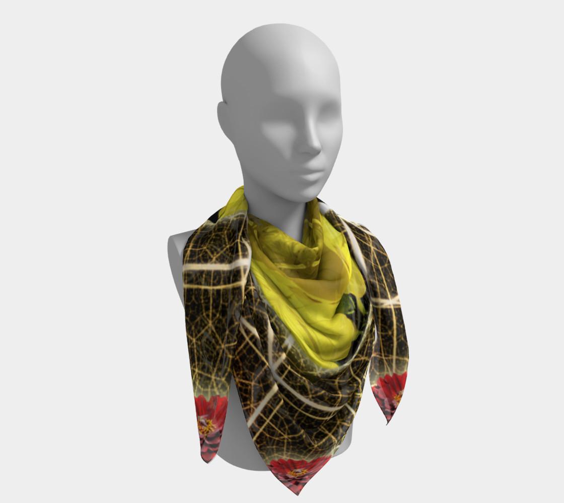 Aperçu de Queen Bee Mandala Large Silk Scarf #4