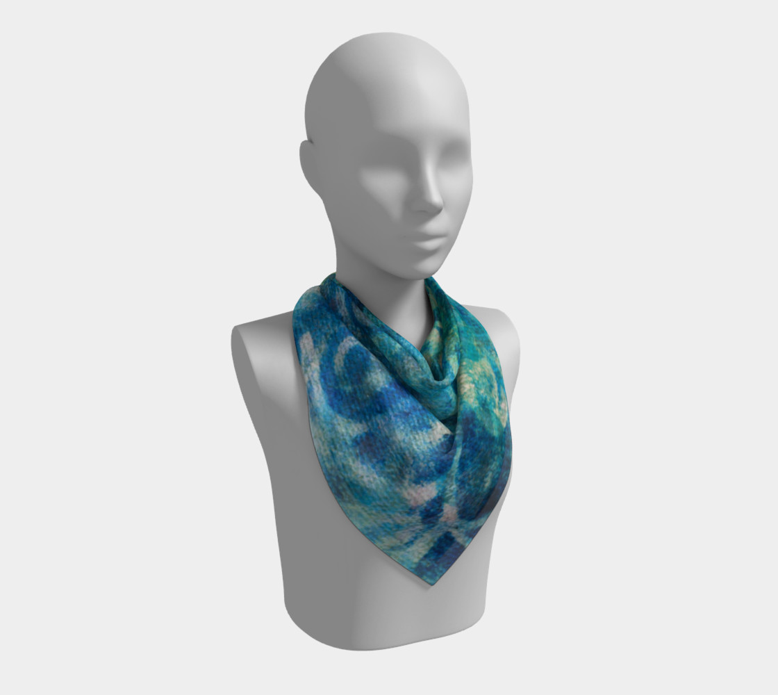 Blue Swirl Scarf 26 x 26 preview #2