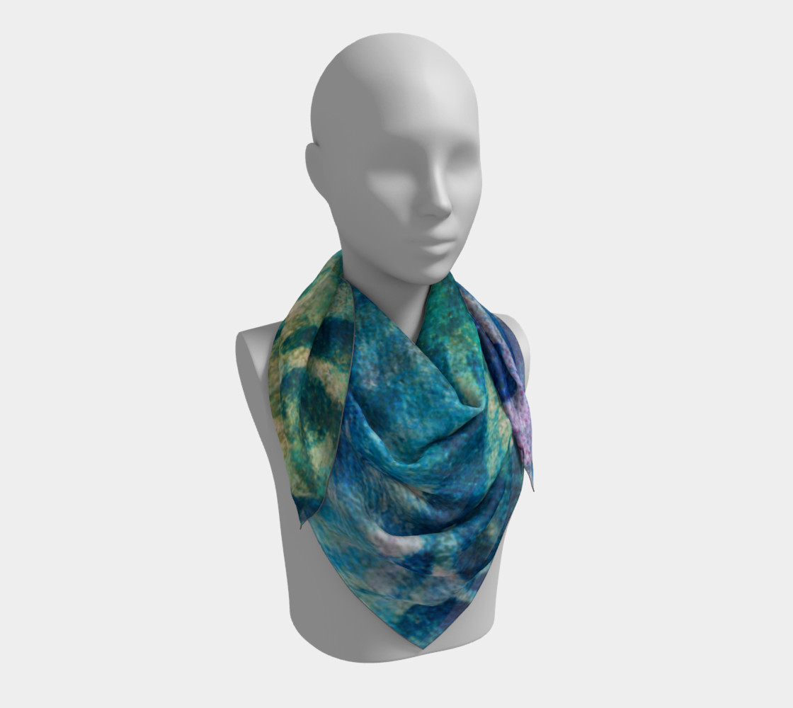 Blue Swirl Scarf 26 x 26 preview #3