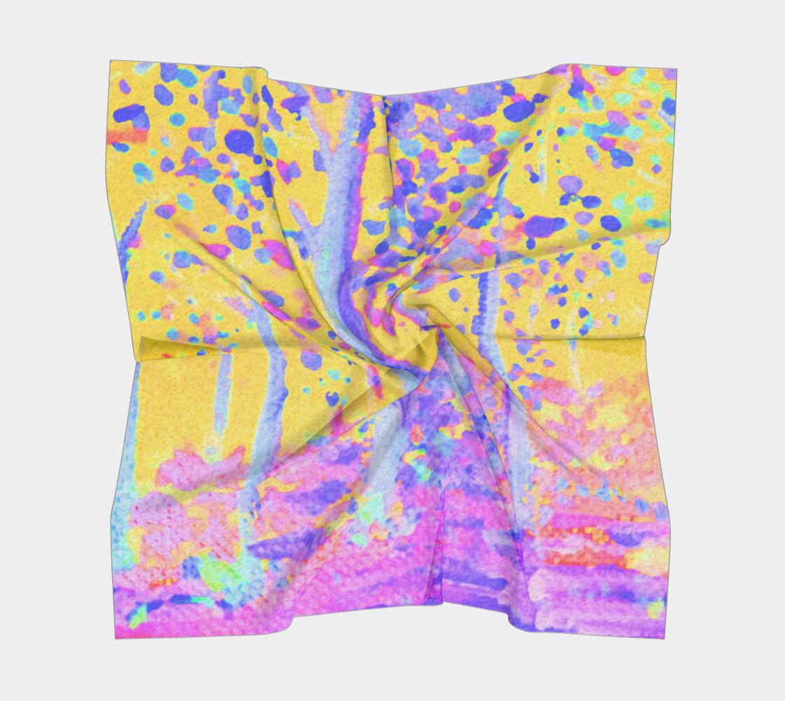 Aperçu de Yellow Magic Trees Square Scarf #5