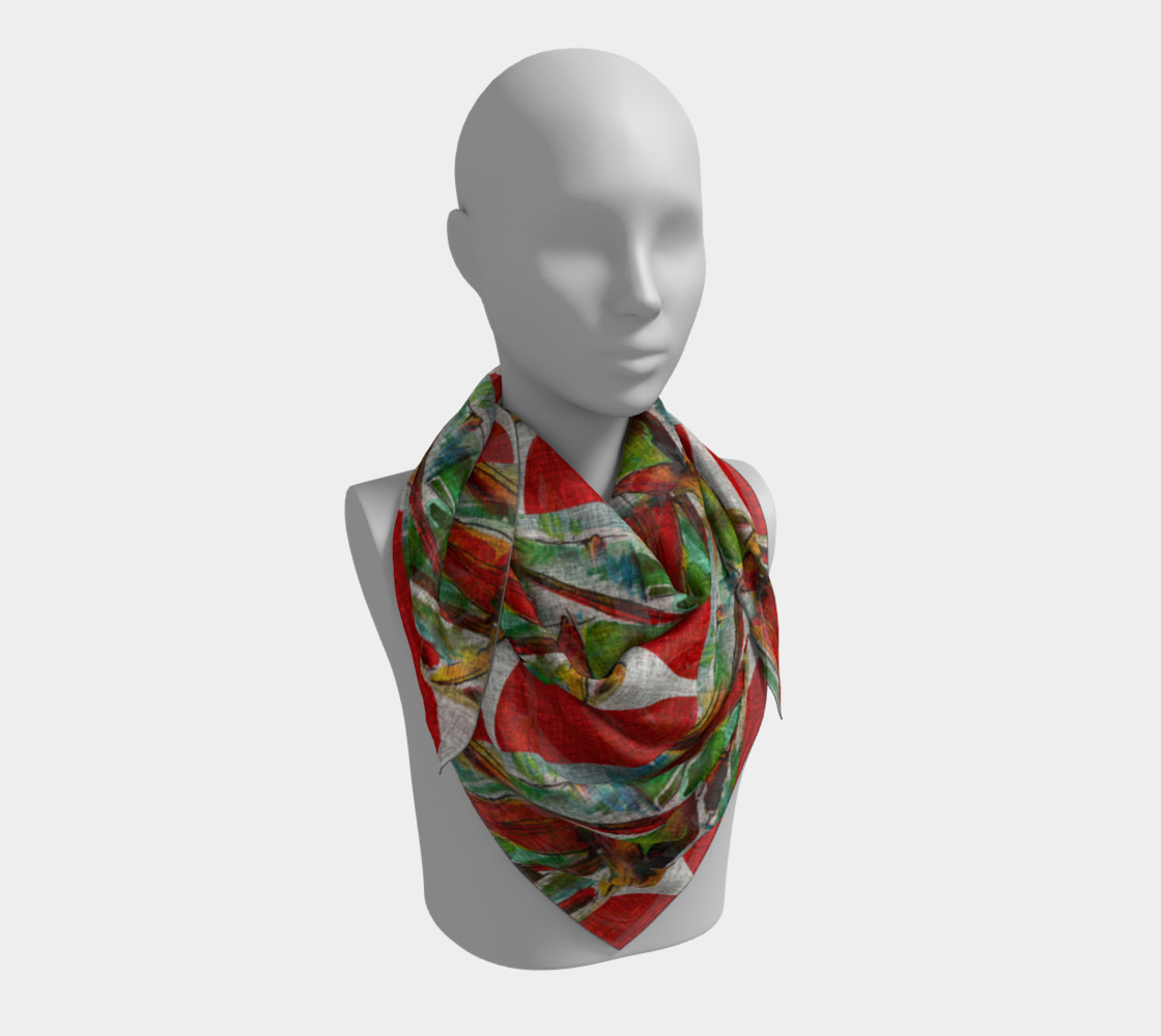 Oriental Red Sun and Bamboo Scarf preview #3