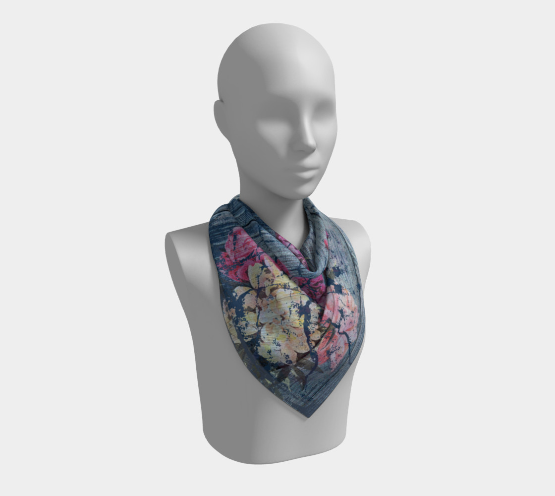 Aperçu de Shabby chic with painted peonies Square Scarf #2