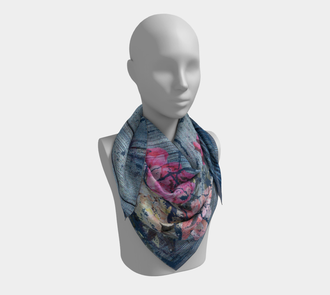 Aperçu de Shabby chic with painted peonies Square Scarf #3