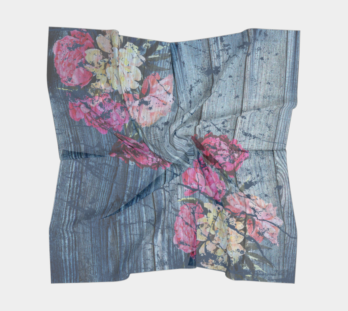 Aperçu de Shabby chic with painted peonies Square Scarf #5
