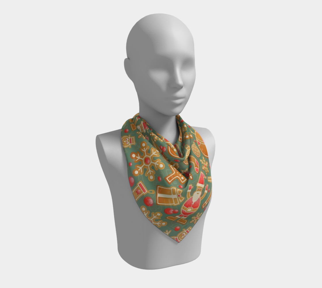 1950s Gingerbread Christmas Pattern Square Scarf preview #2