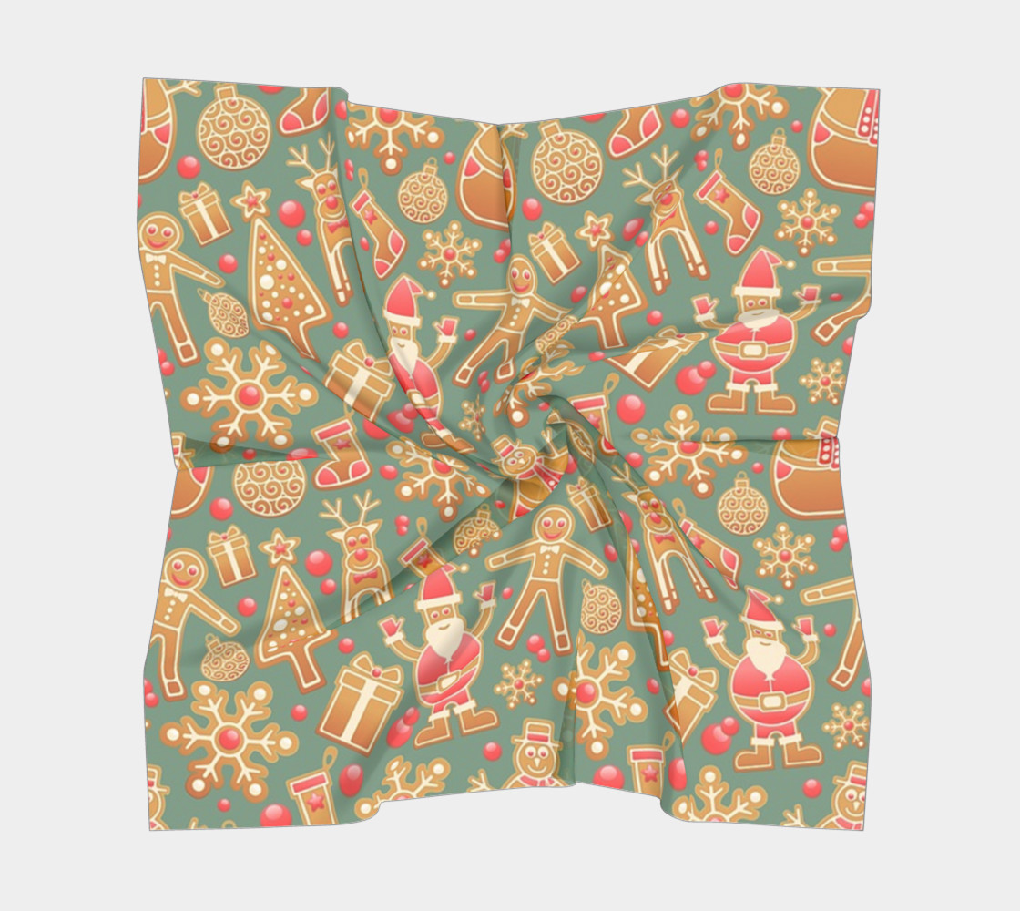 1950s Gingerbread Christmas Pattern Square Scarf preview #5