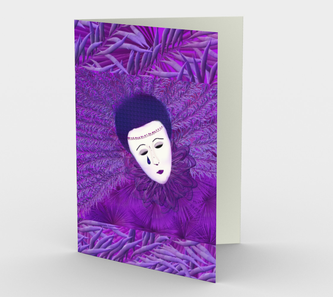 Purple Festival Sad Clown Mask Stationary greeting Card preview #1
