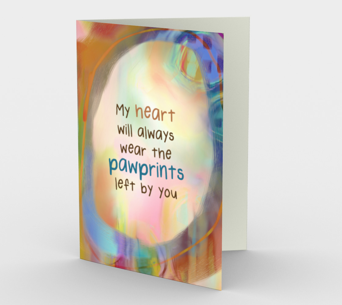 0555.Heart - Pawprints - Loss of Pet Sympathy Card by Delores preview #1