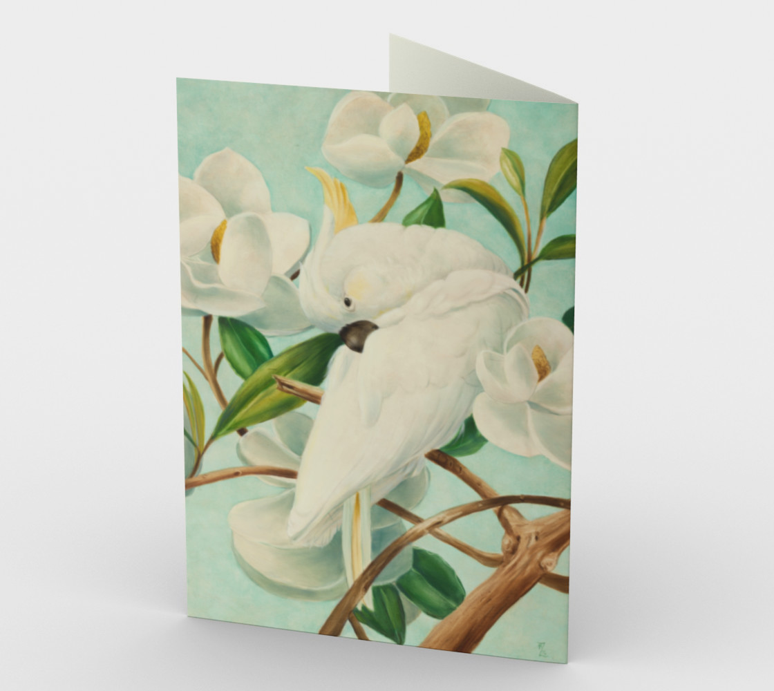 Parrot With Magnolias Stationery Card preview #2