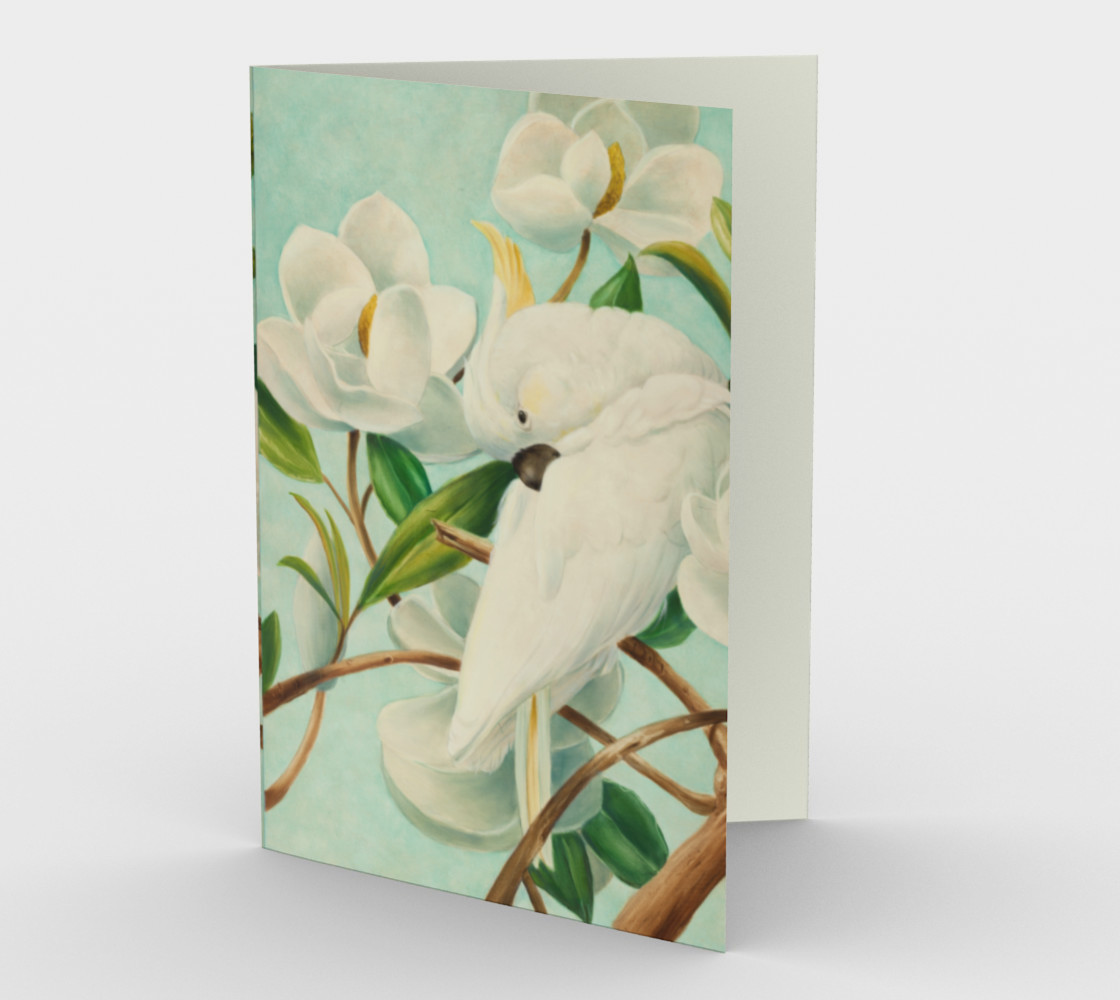 Parrot With Magnolias Stationery Card preview #1