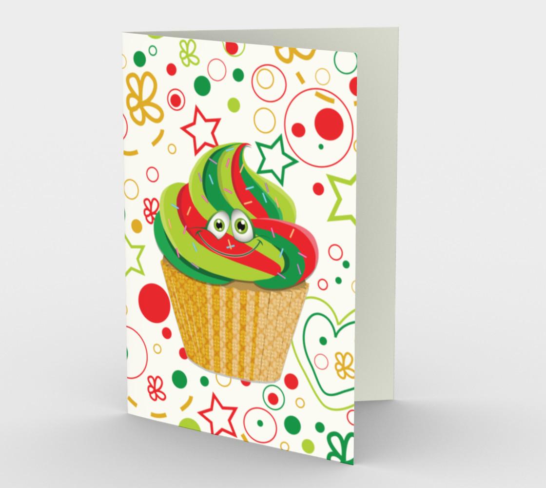 Aperçu de Cute Christmas Cupcake Smiley Face Greeting Card #1