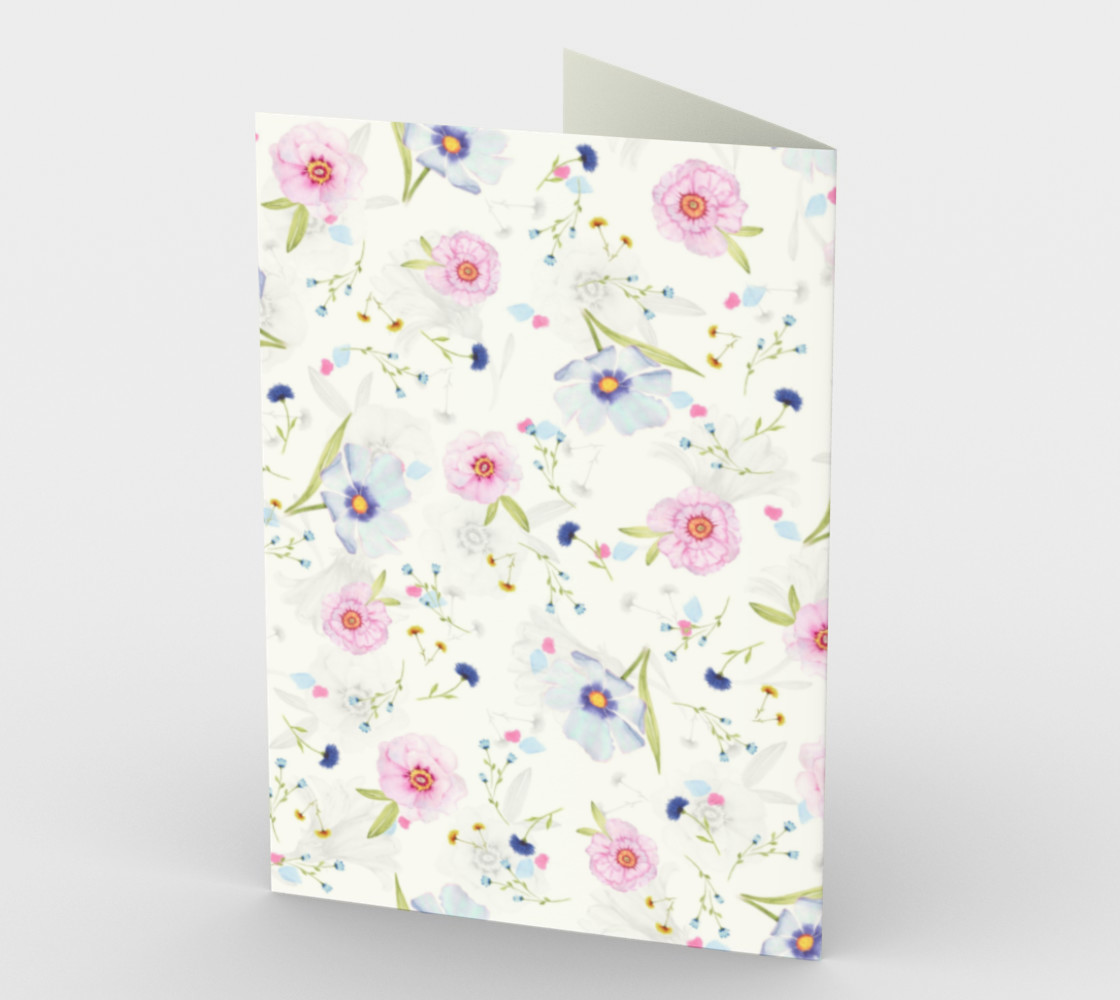 Pink and Blue Flowers on White preview #2