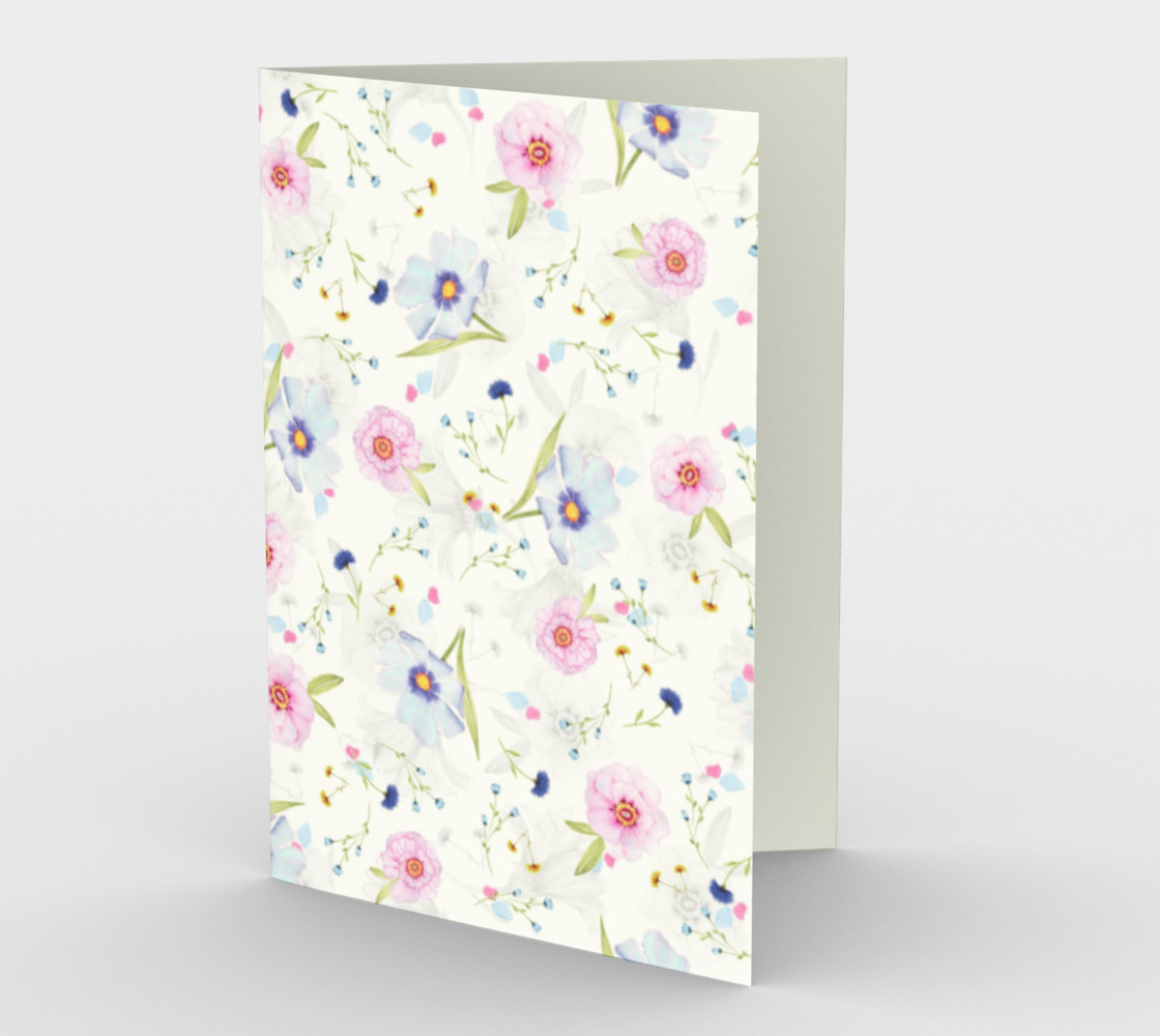 Pink and Blue Flowers on White preview #1