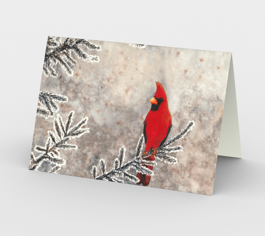 The red cardinal in winter Stationery Card thumbnail #3