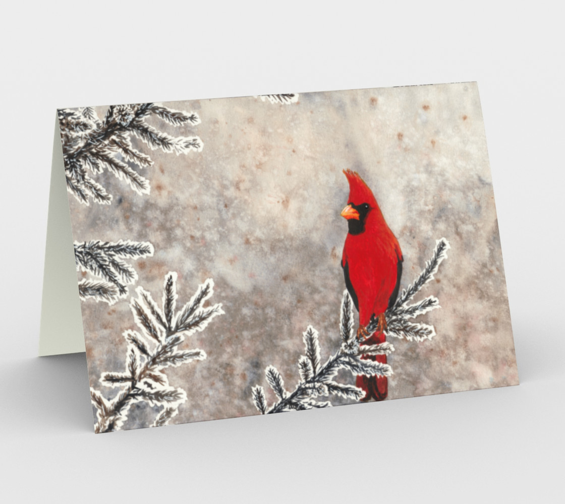 The red cardinal in winter Stationery Card 3D preview