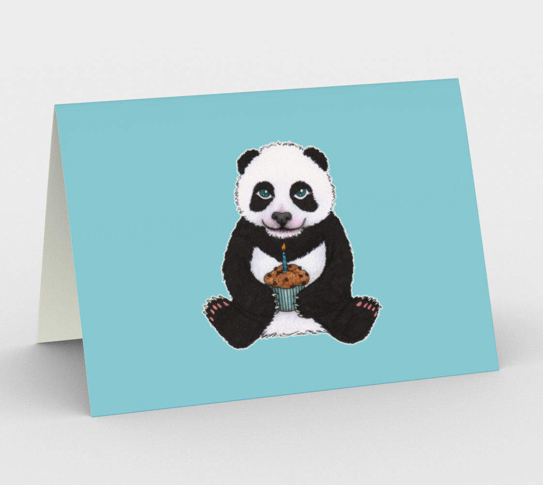 Aperçu de Baby panda's birthday Stationery Card #1