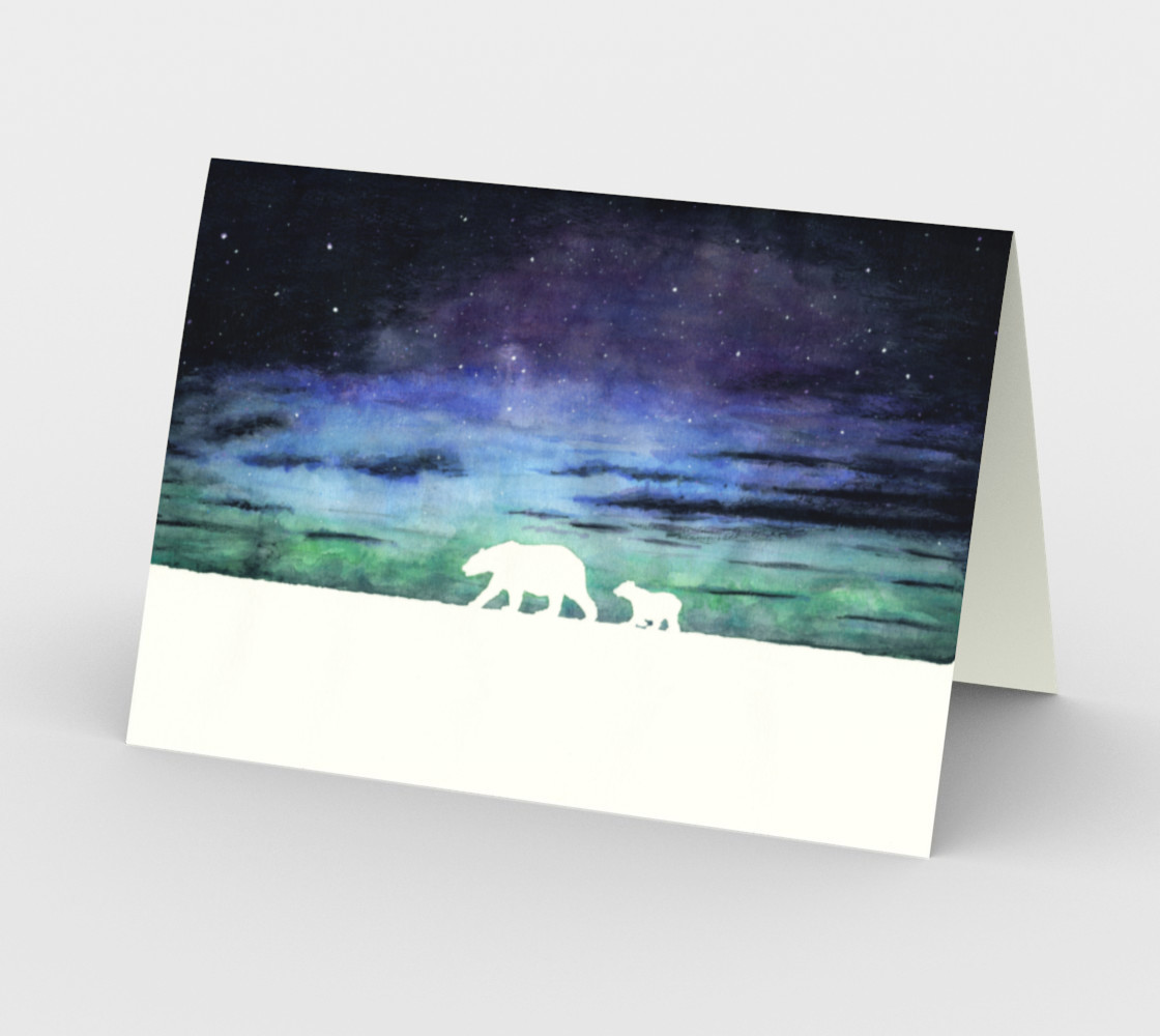 Aurora borealis and polar bears (white version) Stationery Card preview #2