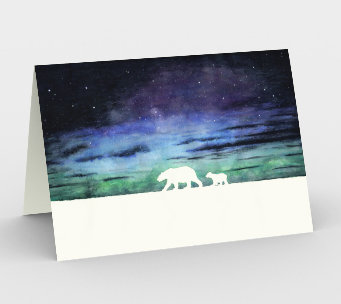 Aurora borealis and polar bears (white version) Stationery Card preview #1