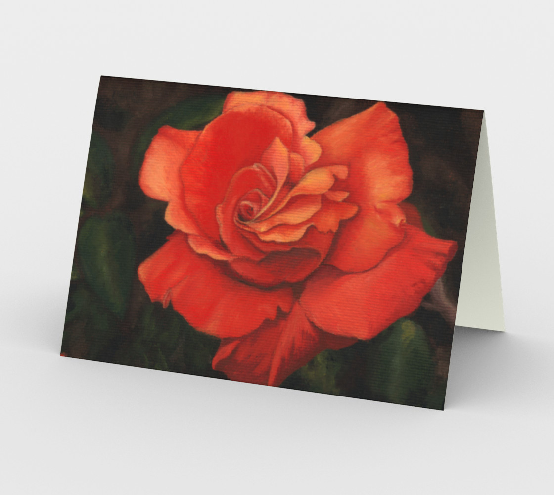 Coral rose flower Stationery Card preview #2